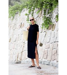 Vacay Outfit – Black Split Dress And Sandals.
