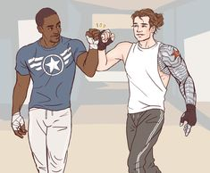 artofobsession:  Flat color commission of Sam Wilson and Bucky Barnes, for someone who wanted to be anonymous.  They commissioned it to have Anthony Mackie and Seb Stan sign!