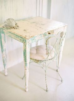 The most perfect blend of chipped, shabby aqua and cream. #furniture #table #desk #home #decor #shabby #chic