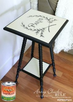Artsy Chicks Rule, http://www.artsychicksrule.com/, painted this pretty table with GF Lamp Black Milk Paint.
