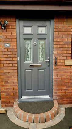 Front Doors: Wondrous Front Door Grey For Contemporary Home. Dark Grey Front Door, Green Front Doors, Grey Doors, Painted Front Doors, Composite Front Doors Uk, Grey Houses, House Front, Glass Design, Contemporary