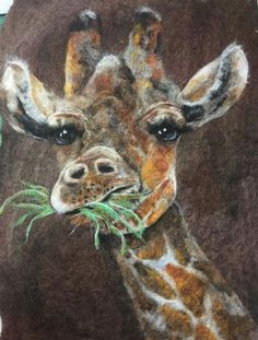 """Check out this animated and gorgeous giraffe! """"Just finished my giraffe. Giraffe Pictures, Felt Pictures, Needle Felted Animals, Felt Animals, Felt Giraffe, Needle Felting Tutorials, Animal Quilts, Wool Art, Wet Felting"""