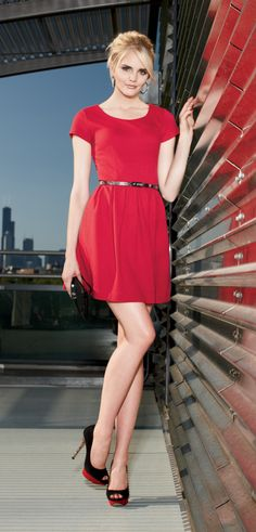 Glamour in red. (Check out the colorblock heels.) #ELLE #Kohls