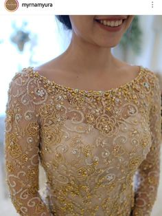 Embroidery bead dress bridal collection Ideas for 2019 Kebaya Lace, Kebaya Brokat, Kebaya Dress, Myanmar Traditional Dress, Traditional Dresses, Embroidery Fashion, Embroidery Dress, Dress Brukat, Kebaya Wedding