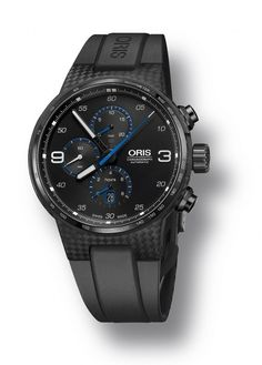 The @oris Williams Chronograph Carbon Fiber Extreme - the carbon fiber case contains Oris Caliber 674, a modified ETA 7750 chronograph movement; it is water-resistant to 100 meters and the black dial has applied white numerals, while the black hour and minute hands are coated with white Super-LumiNova. More @ http://www.watchtime.com/wristwatch-industry-news/watches/oris-williams-chronograph-carbon-fibre-extreme-patented-f1-technology-for-an-ultra-light-watch/ #oris #watchtime #chronograph