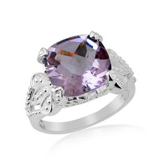 Cushion 8.5 Cts Pink Amethyst Silver Designer Royal Ring Valentine Gift Jewelry #Unbranded #Cocktail #ValentinesDay