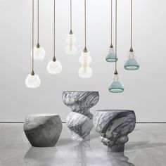 SPINDLE PENDANTS AND STOOLS BY JULIA FEIX AND TAREK MERLIN FOR TMFORF&M