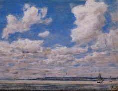 """""""Paisaje marino con el cielo grande"""", pastel de Eugène Louis Boudin (1824-1898, France)"""