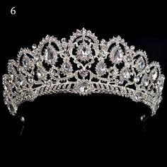 Queen of The Night Crystal Tiara Crowns Cute Jewelry, Hair Jewelry, Bridal Jewelry, Bridal Crown, Bridal Tiara, Crown Earrings, Color Lila, Diamond Tiara, Tiaras And Crowns