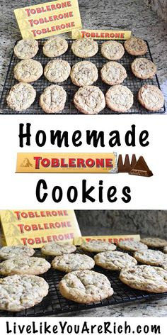 Homemade Toblerone Cookies - They taste amazing! Toblerone Chocolate, Belgian Chocolate, Chocolate Cookies, Chocolate Heaven, Easy Desserts, Delicious Desserts, Yummy Food, Cookie Recipes, Dessert Recipes
