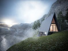 Triangle Cliff House (concept design) by Germany-based architect Matthias Arndt for the design challenge of Lichtect Architecture… A Frame Cabin, A Frame House, Triangle House, Triangle Building, Triangle Window, Small Cottage Homes, Cottage House, Cliff House, Design Exterior