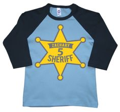 Sheriff Star Badge  Birthday Shirt boys birthday by FreshFrogTees, $19.95