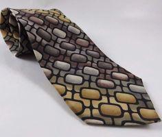 """Grateful Dead Silk Tie Franklin's Tower Third Set Brown Gold Black 60"""" Necktie  #GratefulDead #GeometricPrint"""