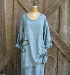 linen+daisy+A+line++tunic+in+grey+blue+storm+by+linenclothing,+$129.00