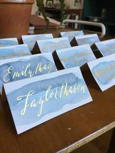 100% handmade watercolor placecards, brushed with a wash of watercolor in your…