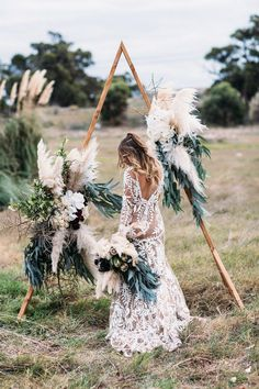 Boho Sage Green Wedding Arch with Pampas Grass Details Outdoor Wedding Ceremony Ideas for Your Wedding at The Orchard at Chesfield wedding alter Hot Wedding Trend: Boho Chic Triangle Wedding Arches Wedding Trends, Wedding Styles, Wedding Designs, Bodas Boho Chic, Bohemian Chic Weddings, Bohemian Bridesmaid, Rustic Bohemian Wedding, Bohemian Wedding Inspiration, Bohemian Dresses