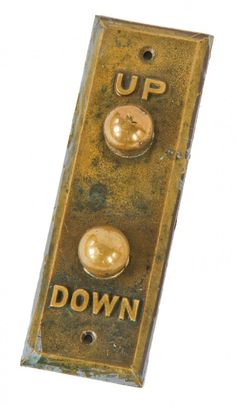 hard to find all original c. 1920's american art deco style interior chicago motor club elevator car call push button backplate with intact mechanical components
