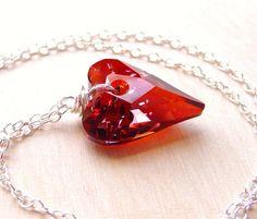 Red Heart Crystal Necklace Swarovski Heart Pendant by JBMDesigns