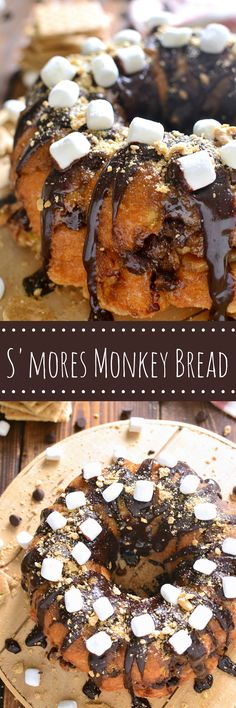 S'mores Monkey Bread is loaded with chocolate, marshmallows, and graham cracker crumbs....and seriously…