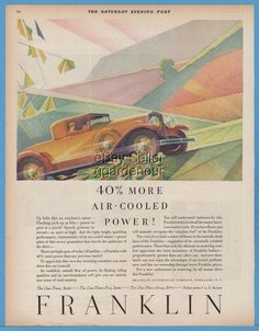 1929 Franklin Automobile Company Syracuse New York Coupe 1920's Art Deco Ad