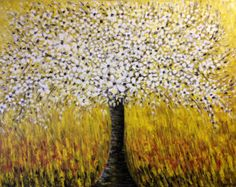 Blossom Tree Painting, Abstract Tree Painting, Blooming Tree, Abstract Landscape palette knife Oil painting by Elena Hajda