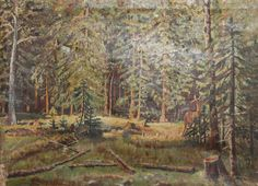 Antique Forest Landscape Roe Oil Painting Signed | eBay