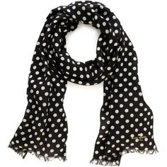 Mod Spot Picture Dot Scarf ($98) ❤ liked on Polyvore featuring accessories, scarves, black, polka dot, kate spade, kate spade scarves and polka dot scarves