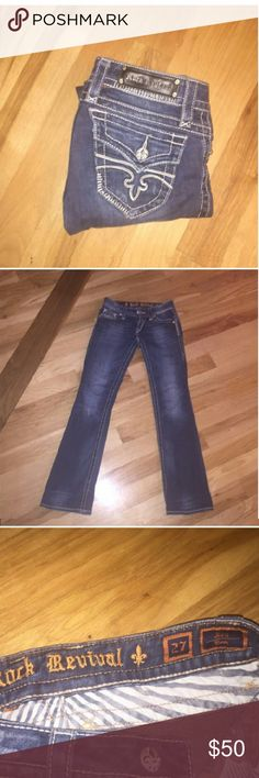 Rock Revival Jen boot-cut jeans Rock Revival Jen boot-cut jeans size 37waist,, hate to get rid of these but they don't fit :(,perfect  addition  to your closet :-) these designer jeans are flawless accept minors  wear at bottom of jeans  .price reflects the slight flaw,beautiful jeans selling for a great price!a Rock Revival Jeans Ankle & Cropped