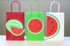 DIY Watermelon Party Theme Printable Favor Bag Template.  Print as many copies as you need.