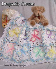 Dragonfly Dreams Crochet Baby Afghan or Blanket Pattern