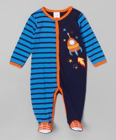 Another great find on #zulily! Buster Brown Blue & Navy Spaceship Footie - Infant by Buster Brown #zulilyfinds