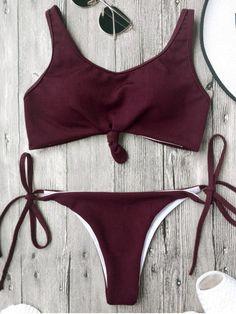$13.99 Cami Bralette String Bikini Set - BURGUNDY M