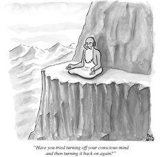 meditation comic cute man sitting mountain