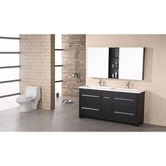 This stunning Perfecta modern double sink vanity will be the centerpiece of bathroom. With a black wood cabinet base, four drawers and one cabinet, this contemporary vanity has a bold design.