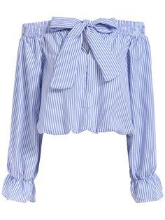 Sexy Off Shoulder Blouse 2017 Summer Women Bow Slash Neck Long Sleeve Blue Vertical Striped Shirt Blusas Fashion Tops Plus Size Striped Long Sleeve Shirt, Long Sleeve Crop Top, Long Sleeve Shirts, Vertical Striped Shirt, Diy Vetement, Mode Top, Blue Crop Tops, Cropped Tops, Crop Blouse