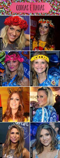 No Carnaval, vale tudo: brilho, glitter, flores na cabeça... Se inspire nessas celebridades que investiram em acessórios na cabeça como coroa de flores e tiaras.
