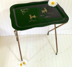 Large Vintage Black & Gold Hand Painted Tray Table - Retro Space Saving Folding TV Stand - Mid Century Dining