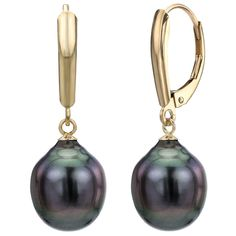 e9aae4015 Amazon.com: Baroque Cultured Tahitian Black Pearl Earrings 14K Yellow Gold  Leverback Jewelry for Women 10-10.5mm: Jewelry