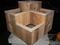 Three Tiered  Planter Box With Turtle Cut Outs....see more at www.facebook.com/chucksplanterboxes