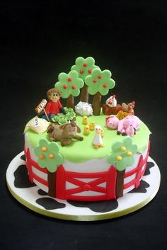 Farm Birthday Cakes, Baby Boy Birthday Cake, Bithday Cake, Cupcakes, Cupcake Cakes, Cake Pops, Farm Animal Cakes, Chicken Cake, Farm Cake