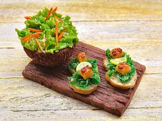 Miniature food dollhouse, croutons with octopus, polymer clay 1/12 scale, fish bread and salad, kitchen dolls decor, ooak italian board tray
