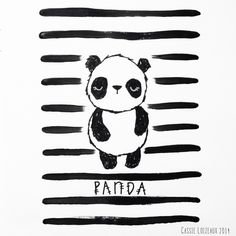 Panda Bear. Day 64 of yearlong 30 minute a day sketchbook project. Cassie Loizeaux