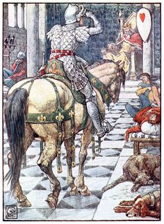 oldbookillustrations: Perceval obtains the shield of the beating heart.  Walter Crane, from King Arthur's knights, retold by Henry Gilbert,...
