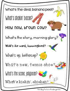 Rhyming Morning Greetings by Herding Kats in Kindergarten Rhyming Activities, Preschool Songs, Kids Songs, Toddler Activities, Morning Meeting Greetings, Morning Greeting, Classroom Organization, Classroom Management, Classroom Ideas