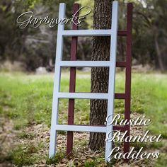 Handmade blanket ladder for displaying decor. By Garvinworks of Bandera, Texas
