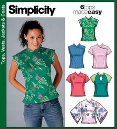 Simplicity 5098 Size 20 Cheongsam, sleeveless, short sleeved and belled sleeved. Blouse Patterns, Clothing Patterns, Skirt Patterns, Coat Patterns, Sewing Blouses, Chinese Clothing, Simplicity Sewing Patterns, Top Pattern, Diy Clothes