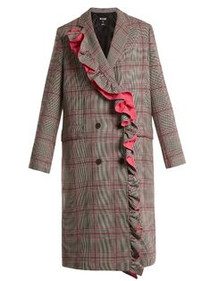 MSGM Asymmetric-ruffle Prince of Wales-checked coat