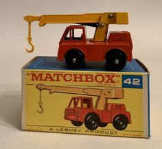 VTG. 1969 LESNEY MATCHBOX #42 IRON FAIRY CRANE WITH BOX (NEAR MINT) #Matchbox