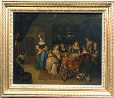 FLEMISH INTERIOR LADIES MAKING/REPAIRING TAPESTRIES O/C FROM BRYAN COLL 1867 | eBay
