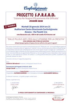 """Progetto S:P:R.E.A.D. - """"Dalle pillole anti crisi alle vitamine per la crescita"""" - Confartigianato Ancona - Martedì 28 gennaio 2014"""